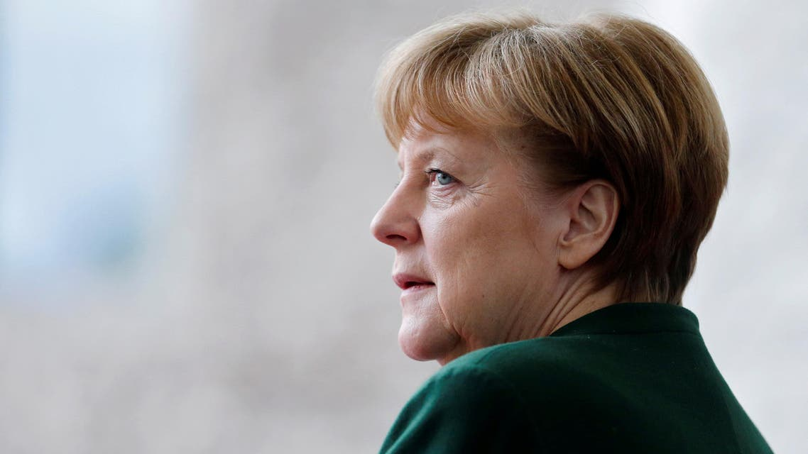 German Chancellor Angela Merkel awaits the arrival of the new European Parliament President Antonio Tajani at the Chancellery in Berlin, Germany, February 24, 2017