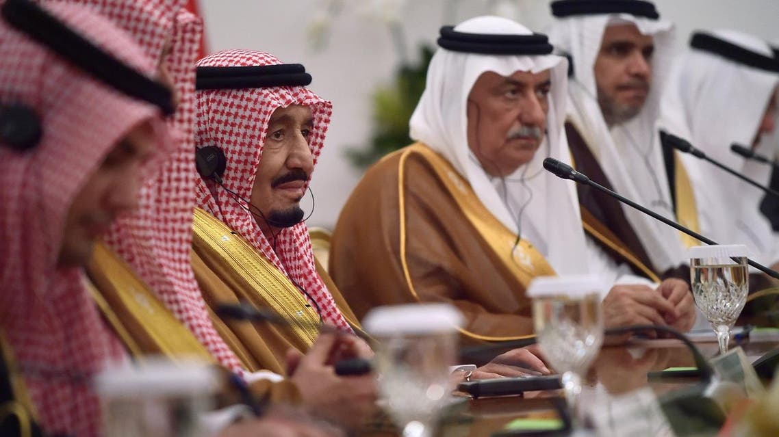 King Salman attends a bilateral meeting at the presidential palace in Bogor on March 1, 2017. (AFP)