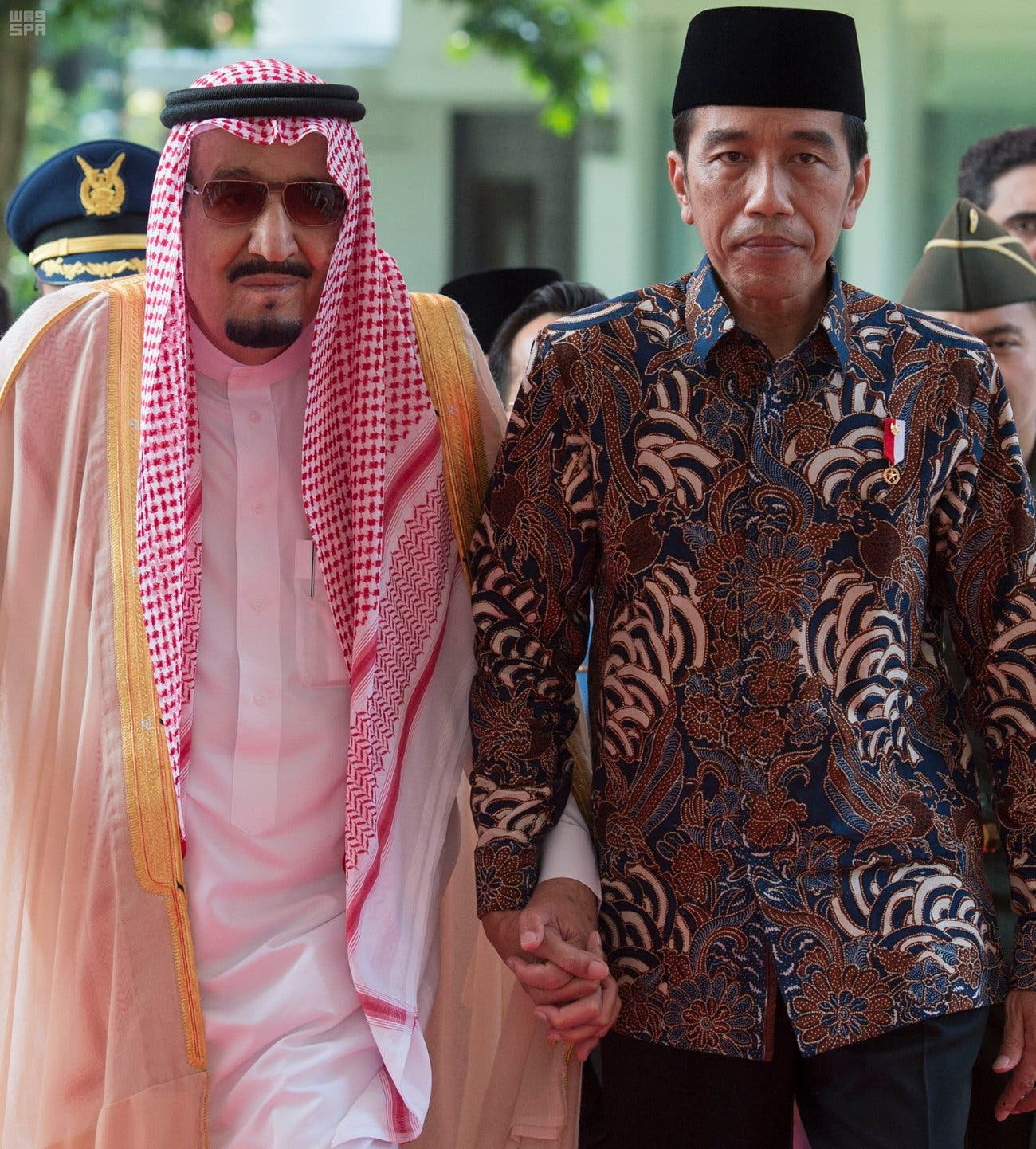 King Salman with Indonesian President. (SPA)