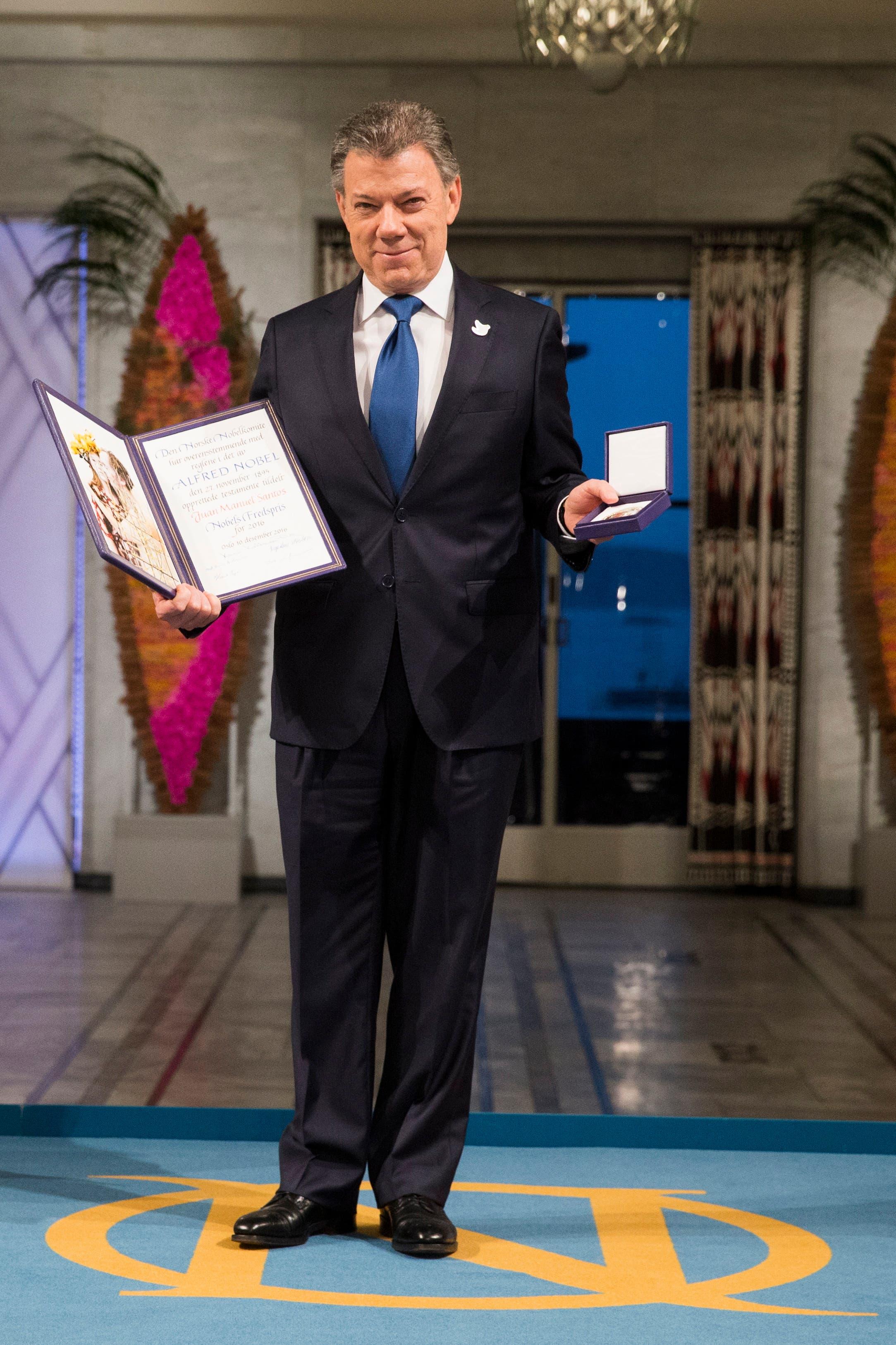 الرئيس الكولومبي خوان مانويل سانتوس الفائز بجائزة نوبل للسلام في 2016