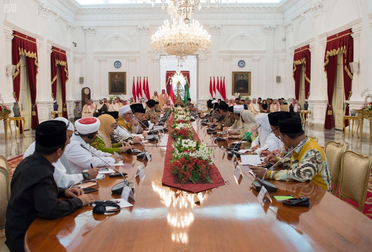 King Salman meets with Indonesian clerics. (SPA)