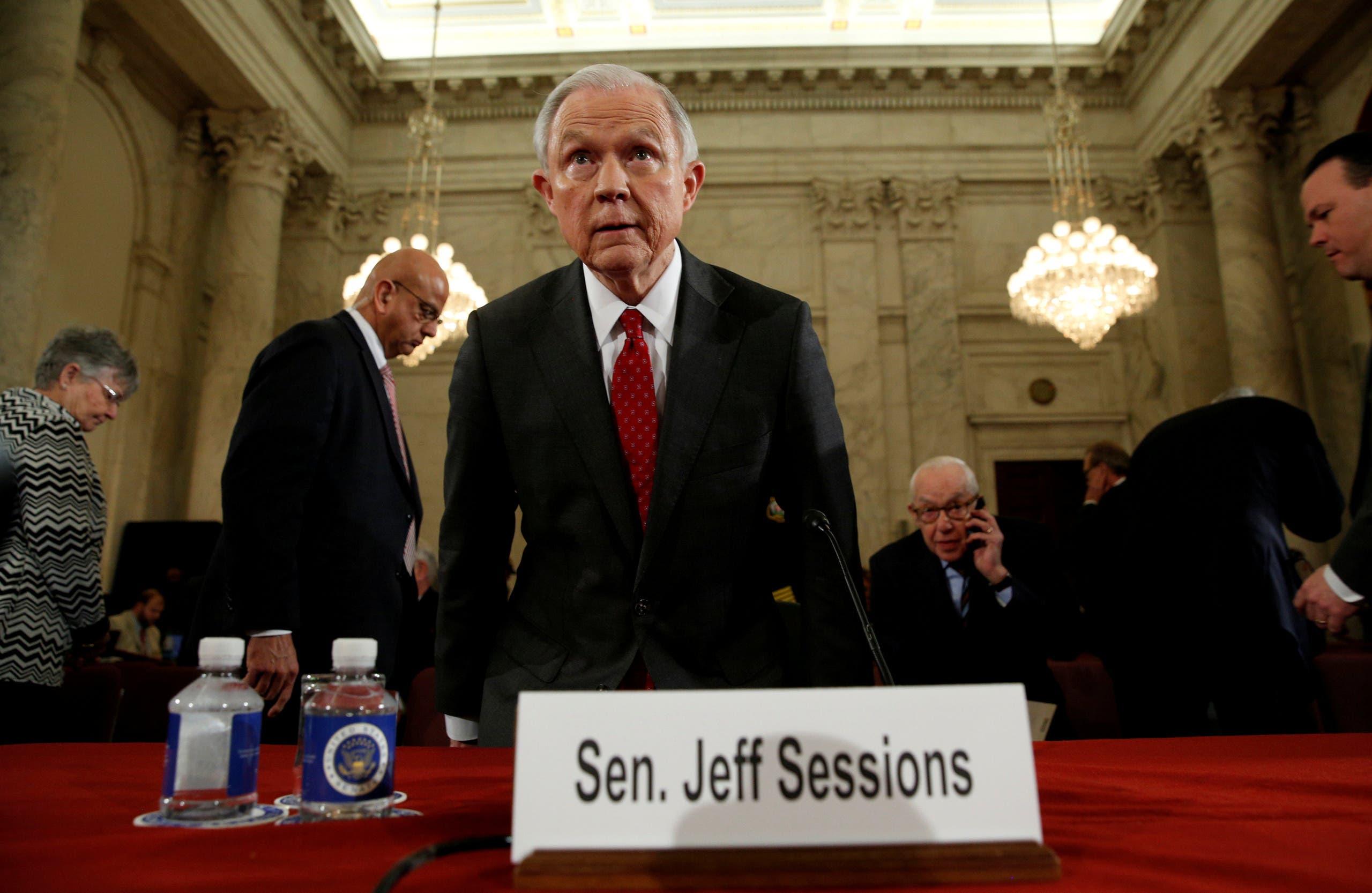 من جلسة الاستماع إلى سيشنز في الكونغرس في يناير الماضي قبل تعيينه وزيراً للعدل