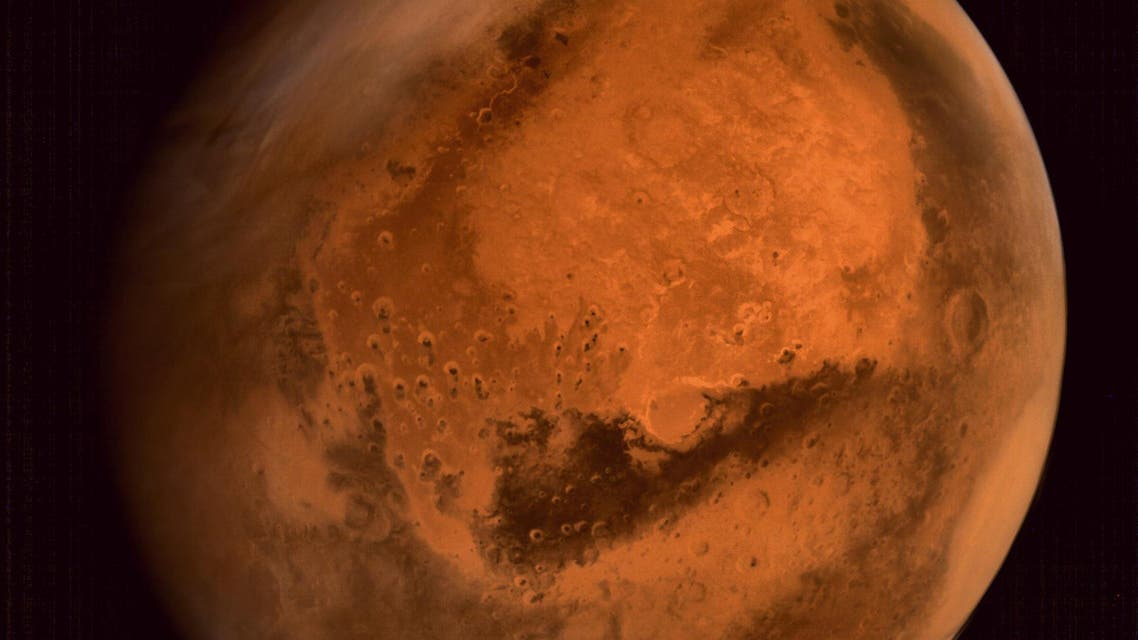 In this handout photograph received from the Indian Space Research Organisation (ISRO) on September 30, 2014, the planet Mars is seen in an image taken by the ISRO Mars Orbiter Mission (MOM) spacecraft