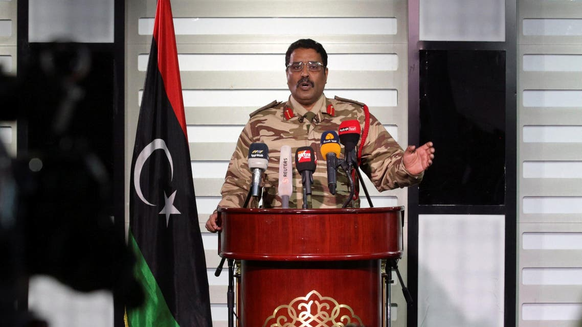 Spokesman of Libyan National Army (LNA) colonel Ahmed Al Masmary gestures during a news conference in Benghazi, Libya, March 3, 2017. (Reuters)