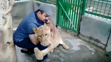 WATCH: Saudi man shares fierce hug with his pet lion