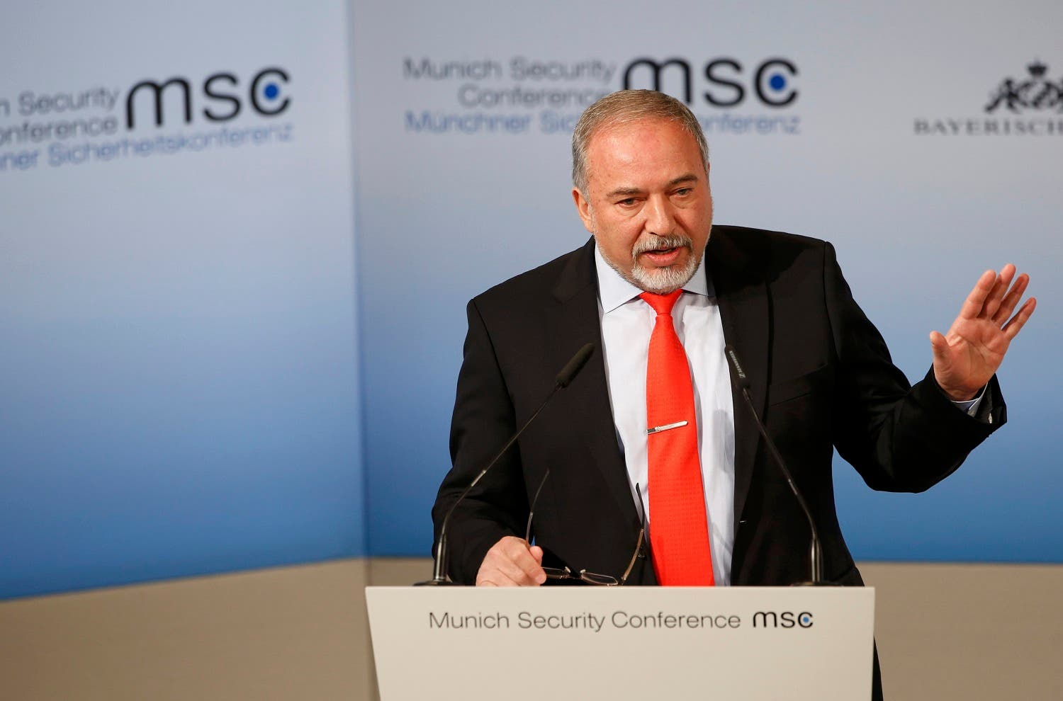 Israel Defense Minister Avigdor Lieberman speaks at the 53rd Munich Security Conference in Munich, Germany, February 19, 2017. (Reuters)