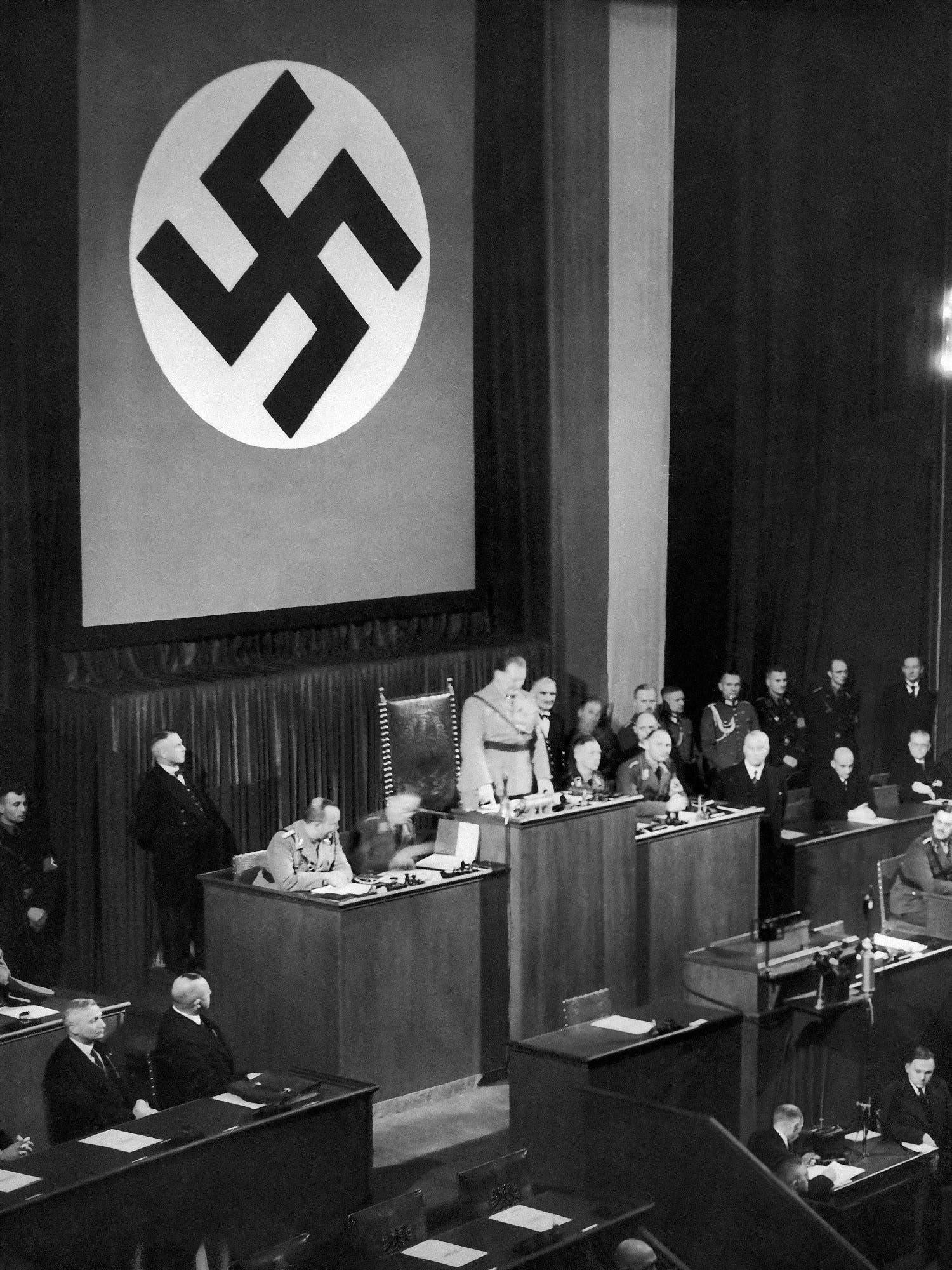 President Goering has opened the new Reichstag session in the Kroll Opera Building in Berlin, Dec. 12, 1933. (AP)