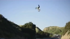 WATCH: Biker flies over freeway in California county