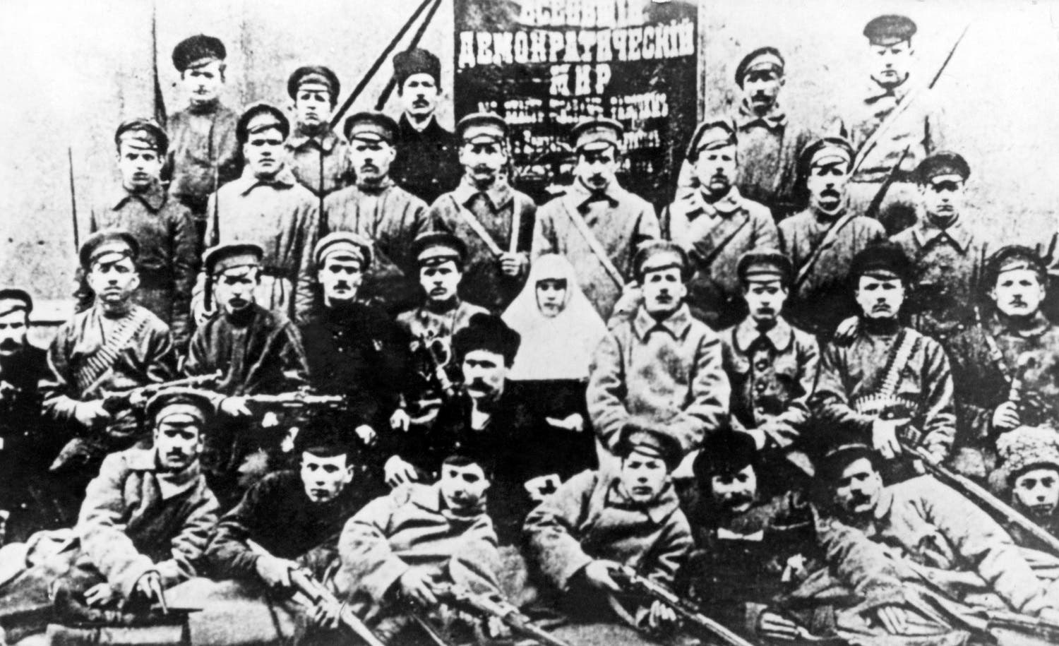 A picture taken in october 1917 shows a group of Bolshevik soldiers posing in Petrograd during the October Revolution. AFP PHOTO PIGISTE / TASS / AFP