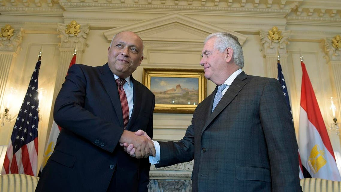 Secretary of State Rex Tillerson shakes hands with Egypt's Minister of Foreign Affairs Sameh Shoukry at the State Department in Washington, Monday, Feb. 27, 2017. (AP)