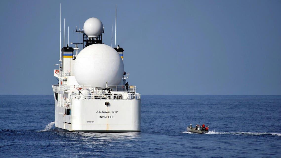 The Military Sealift Command missile range instrumentation ship USNS Invincible in Arabian Sea. (Reuters)