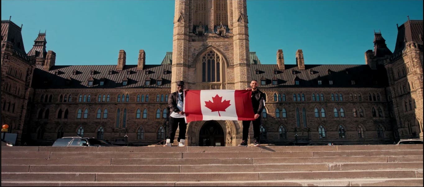 deen squad with the canadian flag at the end of the Cover Girl music clip. (Photo courtesy: Deen Squad)