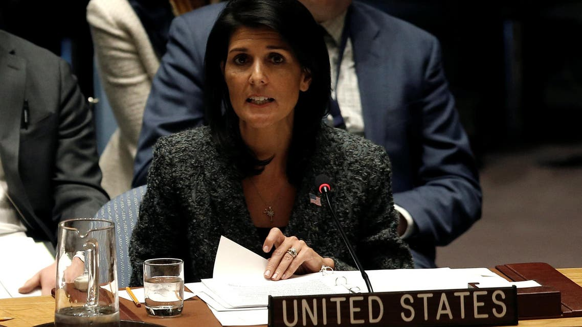 U.S. Ambassador to the United Nations Nikki Haley speaks in favor of a U.N. Security Council resolution to ban the supply of helicopters to the Syrian government and to blacklist Syrian military commanders over accusations of toxic gas attacks at U.N. headquarters in New York City, U.S., February 28, 2017. REUTERS/Mike Segar