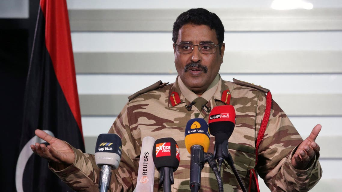 Spokesman of Libyan National Army (LNA) colonel Ahmed Al Masmary gestures during a news conference in Benghazi, Libya, March 3, 2017