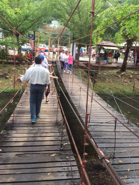 الجسر الخشبي المعلق والمؤدي إلى السيارة السلكية