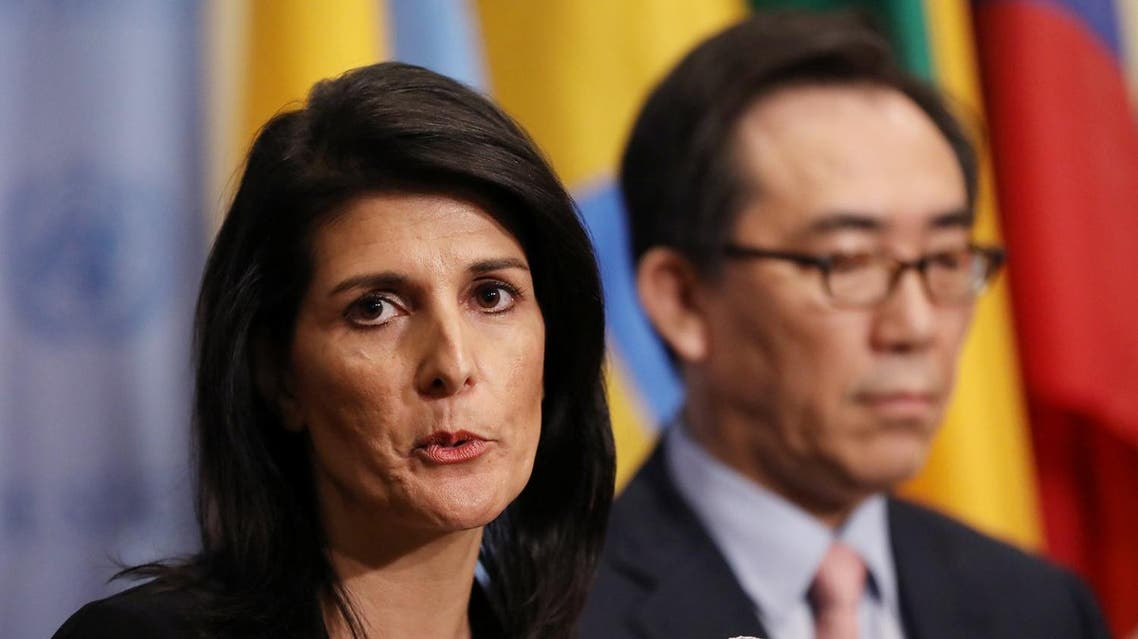 Nikki Haley speaks during a press encounter at the UN in New York on March 8, 2017. (Reuters)