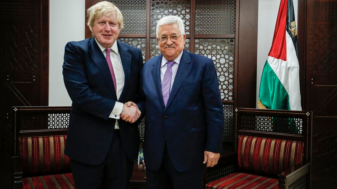 British Foreign Secretary Boris Johnson with Palestinian president Mahmoud Abbas in the West Bank city of Ramallah on March 8, 2017. (AFP)