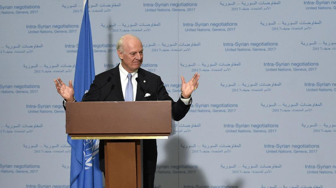 UN Special Envoy of the Secretary-General for Syria Staffan de Mistura gives a press conference during the Intra-Syrian peace talks at the European headquarters of the United Nations in Geneva, on March 3, 2017. (AFP)