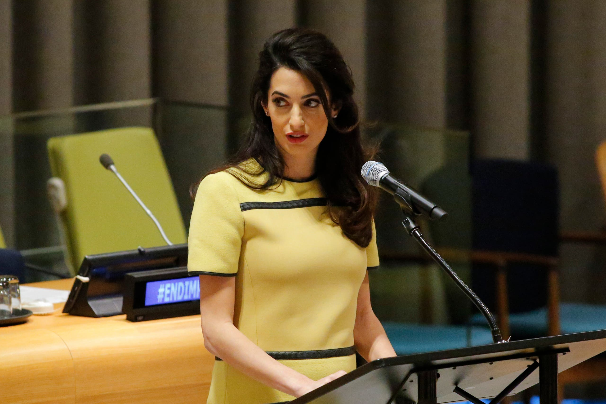"Amal Clooney called on Iraqi Prime Minister Haider al-Abadi to ""send the letter to the Security Council requesting the investigation into ISIS crimes"". (AFP)"