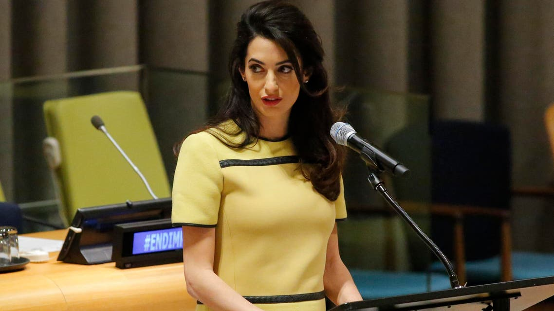 """Amal Clooney called on Iraqi Prime Minister Haider al-Abadi to """"send the letter to the Security Council requesting the investigation into ISIS crimes"""". (AFP)"""