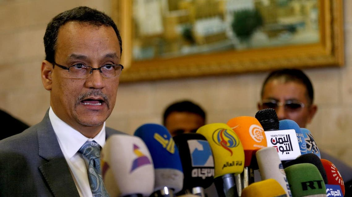 United Nations envoy for Yemen, Ismail Ould Cheikh Ahmed speaks to reporters upon his departure at Sanaa airport following a visit to Sanaa, Yemen November 7, 2016. REUTERS/