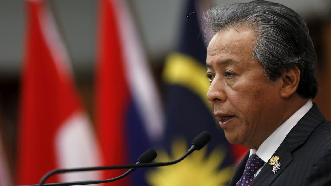 Malaysia's Foreign Minister Anifah Aman speaks to the media after the foreign ministers' meeting at the 26th ASEAN Summit in Kuala Lumpur, Malaysia, April 26, 2015. (Reuters)