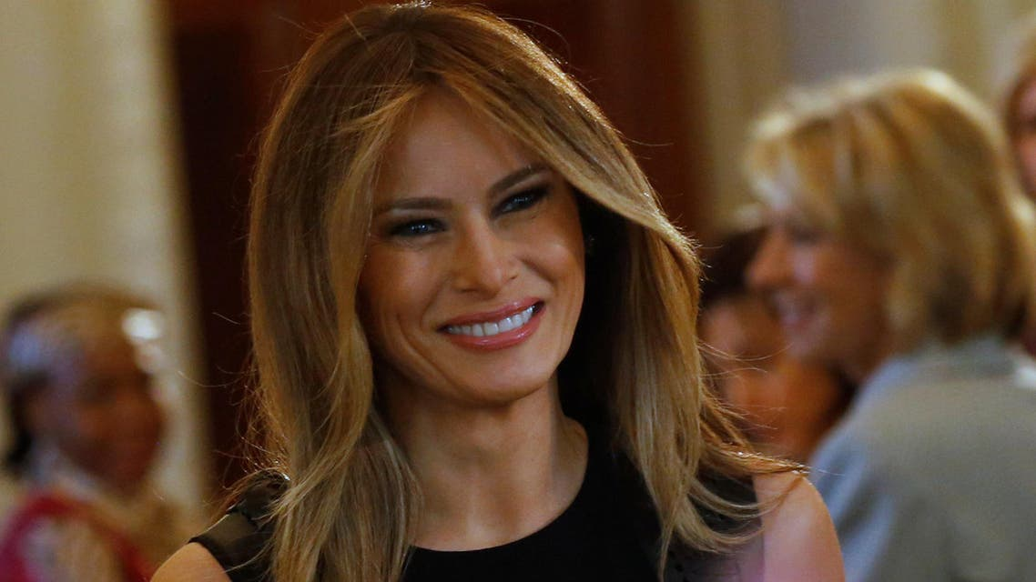 U.S. first lady Melania Trump arrives to join her guests for an International Women's Day luncheon in the State Dining Room at the White House in Washington, U.S. March 8, 2017. reuters