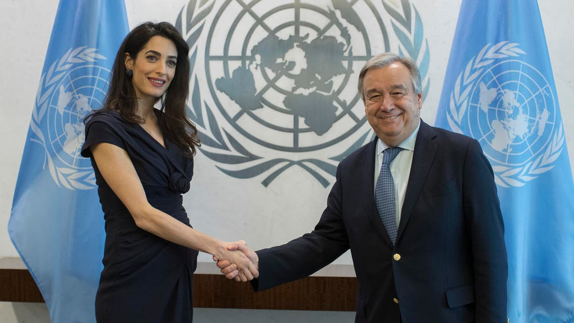 Human rights lawyer Amal Clooney, left, meets with United Nations Secretary-General Antonio Guterres, Friday, March 10, 2017, at United Nations headquarters. (AP Photo/Mary Altaffer)