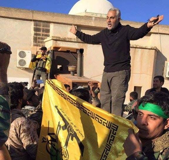 سليماني يخطب في ميليشيات النجباء العراقية بريف حلب