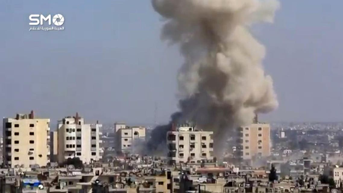 A still image taken from a video uploaded to a social media website, on February 25, 2017, purports to show air strikes in the rebel-held al-Waer area of Homs, Syria