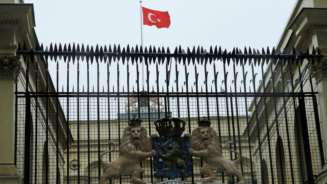 A Turkish flag flies over the Dutch Consulate in Istanbul, Turkey, March 12, 2017. REUTERS/Huseyin Aldemir