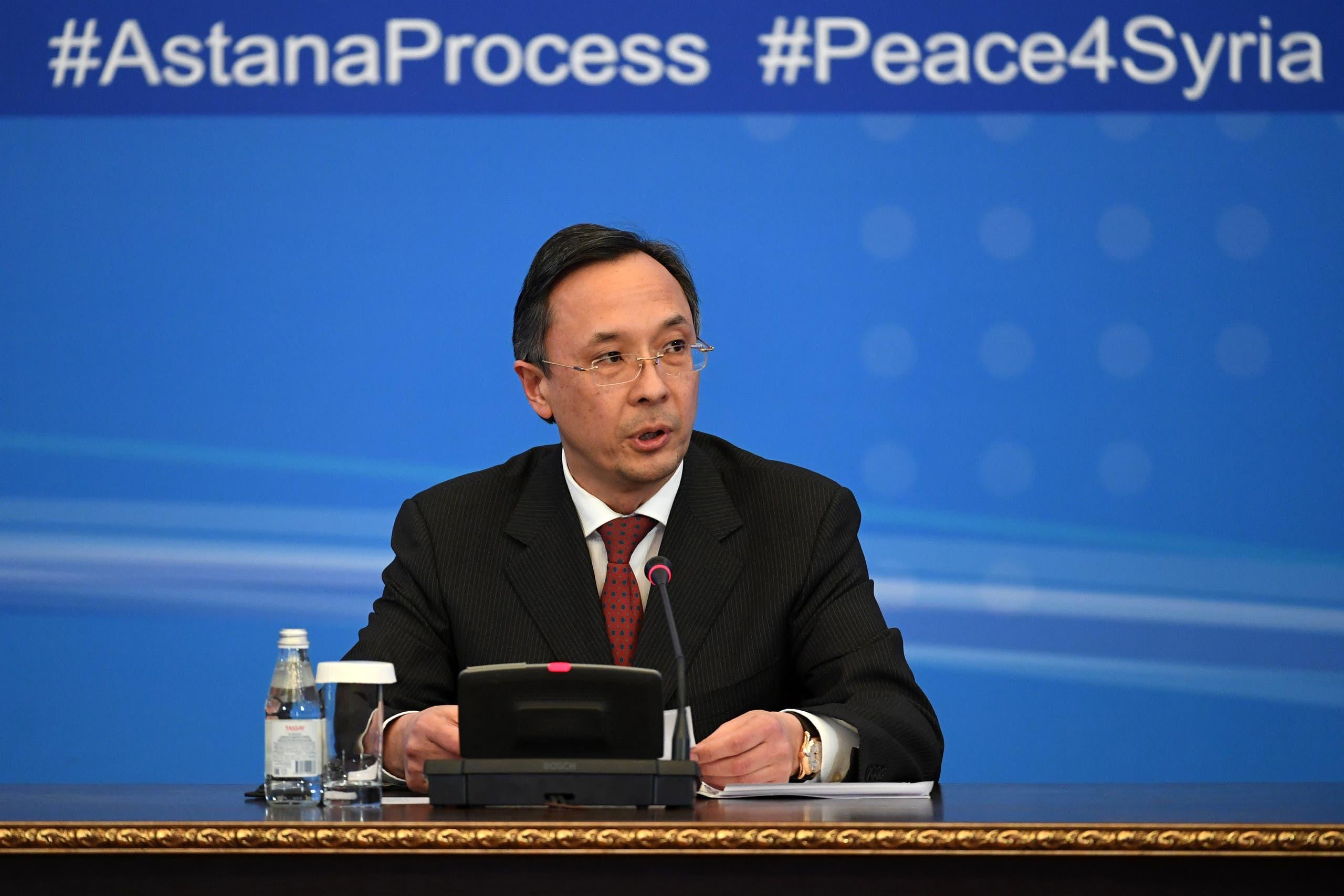 خيرت عبد الرحمنوف وزير خارجية كازاخستان في محادثات أستانا التي انعقدت في يناير الماضي