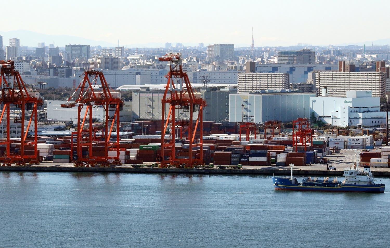 A ship sails before an international cargo terminal in Tokyo. (AFP)