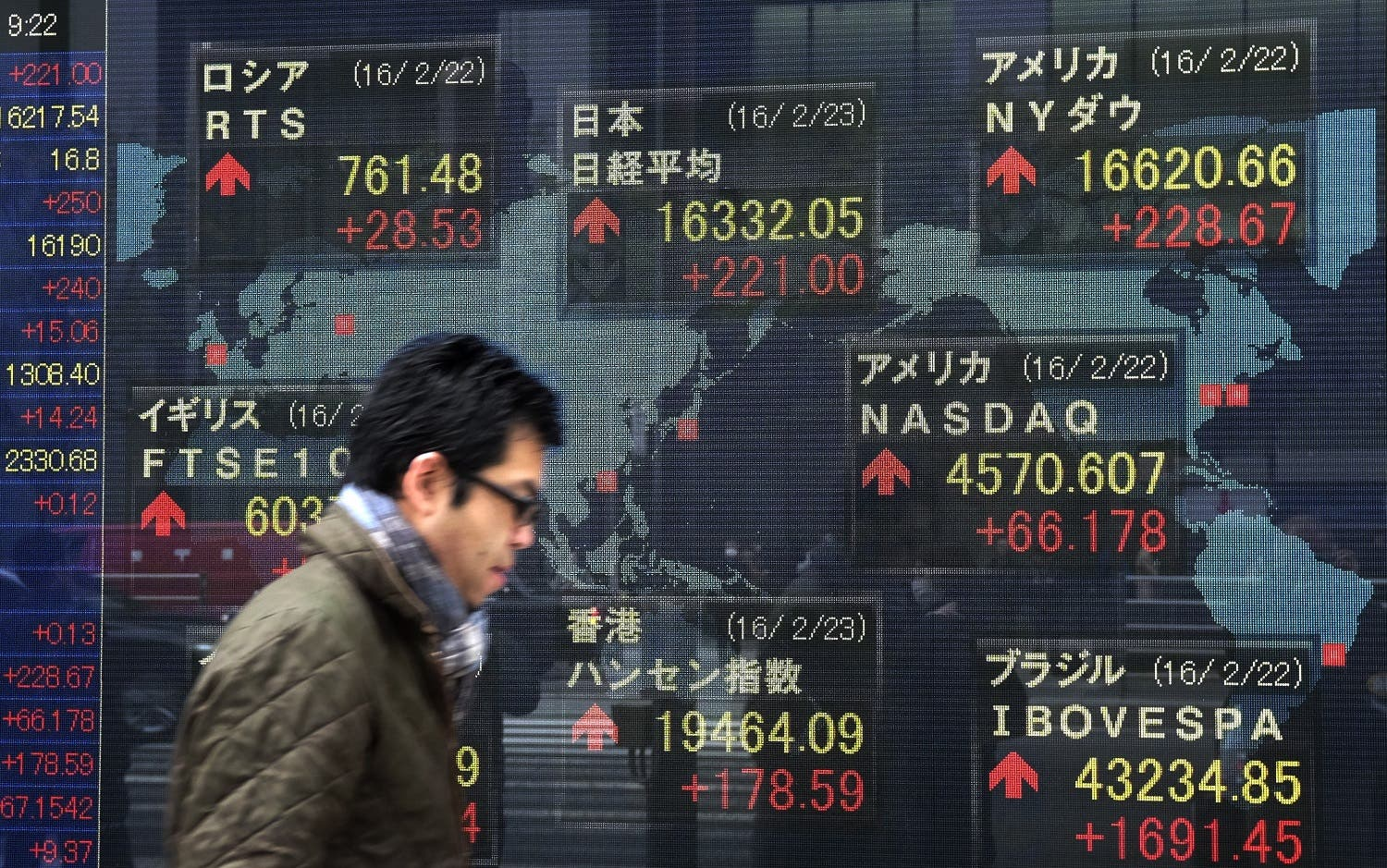 A pedestrian walks past an electric quotation board showing share price indexes of the Tokyo Stock Exchange (C, top) in front of a securities company in Tokyo. (AFP)