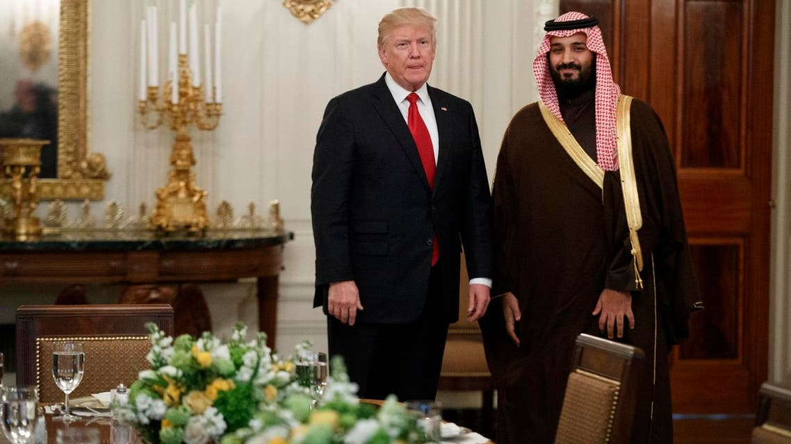 President Donald Trump with Saudi Defense Minister and Deputy Crown Prince Mohammed bin Salman before lunch in the State Dining Room of the White House in Washington, Tuesday, March 14, 2017. (AP)