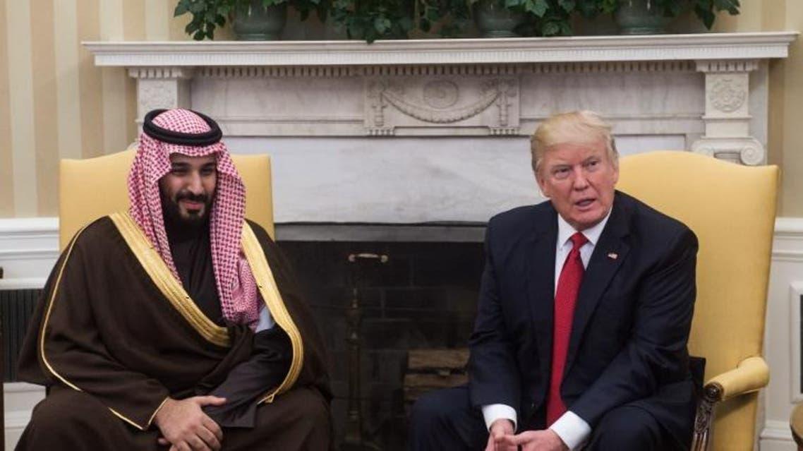 Deputy Crown Prince Mohammed bin Salman bin Abdulaziz Al Saud meets President Donald Trump in the Oval Office of the White House in Washington, March 14, 2017. (AP)