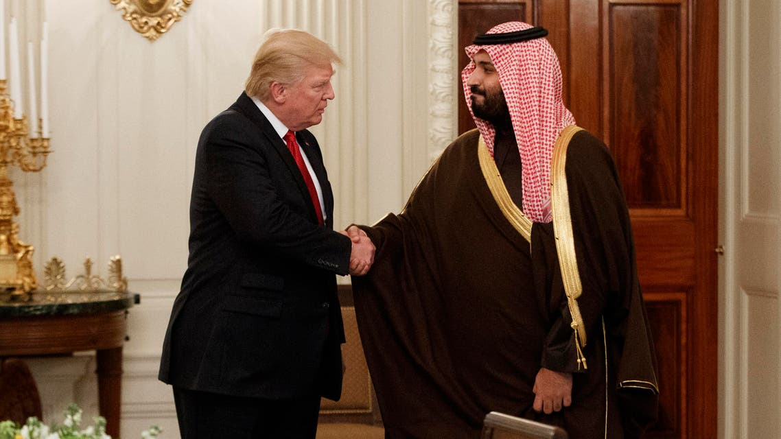 President Donald Trump shakes hands with Saudi Defense Minister and Deputy Crown Prince Mohammed bin Salman, Tuesday, March 14, 2017, in the State Dining Room of the White House in Washington. (AP)