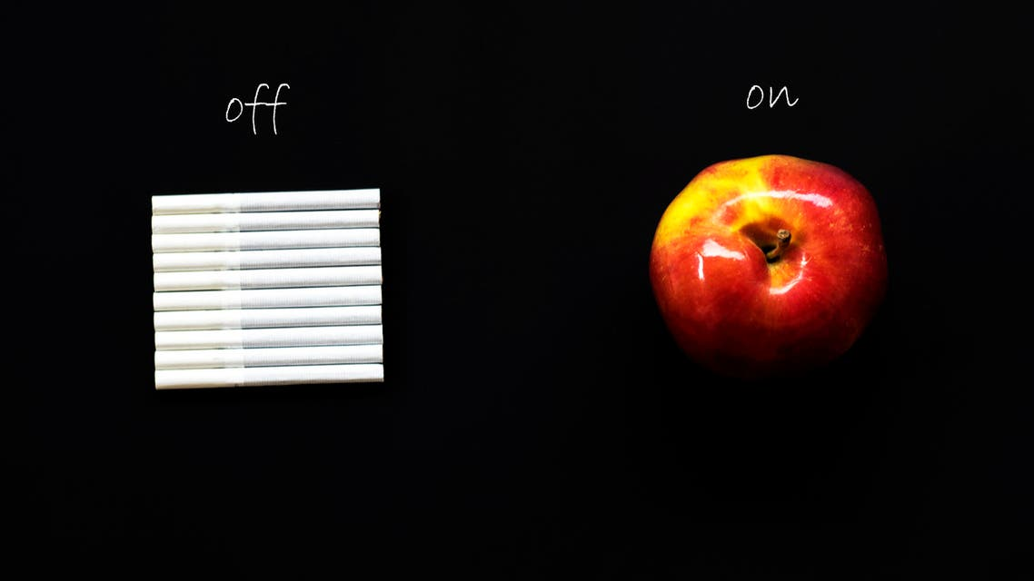 Health mode of life. choices cigarette cigarettes apple