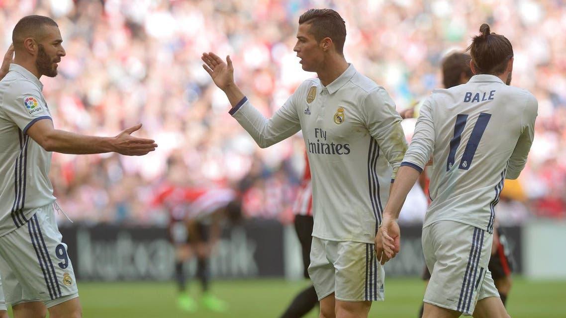 Real Madrid's Gareth Bale, Cristiano Ronaldo and Karim Benzema celebrate a goal, San Mames, Bilbao, Spain, 18/03/17. (Reuters)