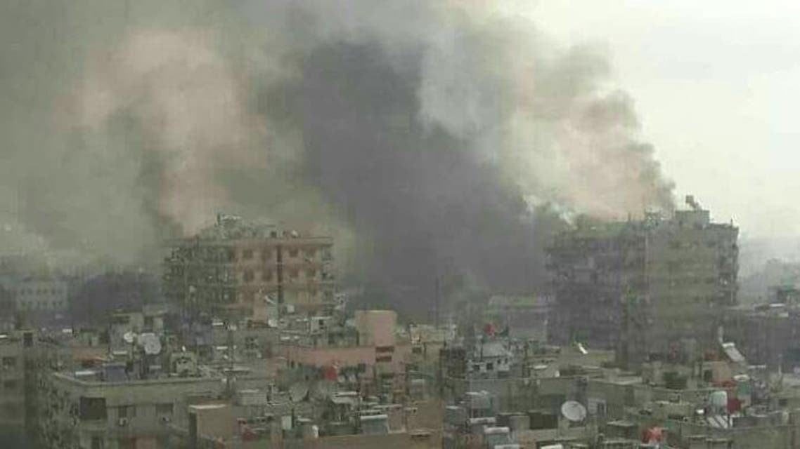 Smoke columns can be seen near the outskirts of the Syrian capital Damascus. (Supplied)