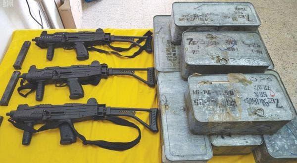 أسلحة تم ضبطها على الحدود السعودية