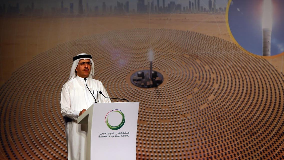 Said Mohamed al-Tayer, Managing director and CEO of Dubai Electricity and Water Authority (DEWA) speaks during a press conference in Dubai on June 2, 2016. (AFP)