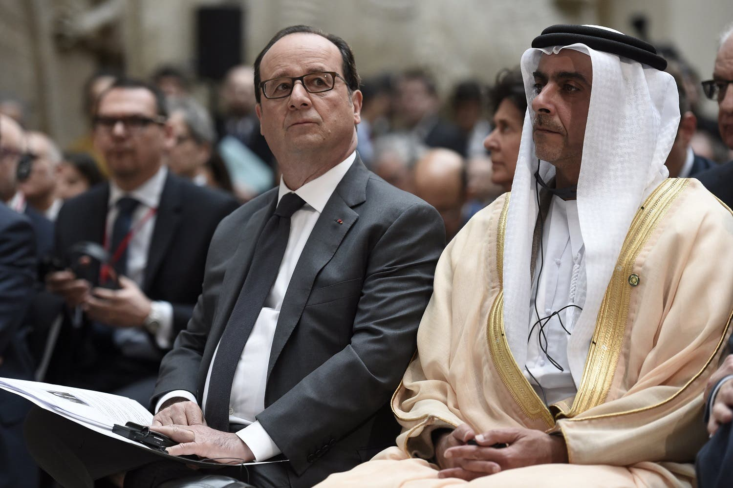French President Francois Hollande and United Arab Emirates Minister of Interior Sheikh Saif Bin Zayed Al-Nahyan attend the International Donors' Conference for the Protection of Heritage in Armed Conflict at the Louvre Museum in Paris. (Reuters)