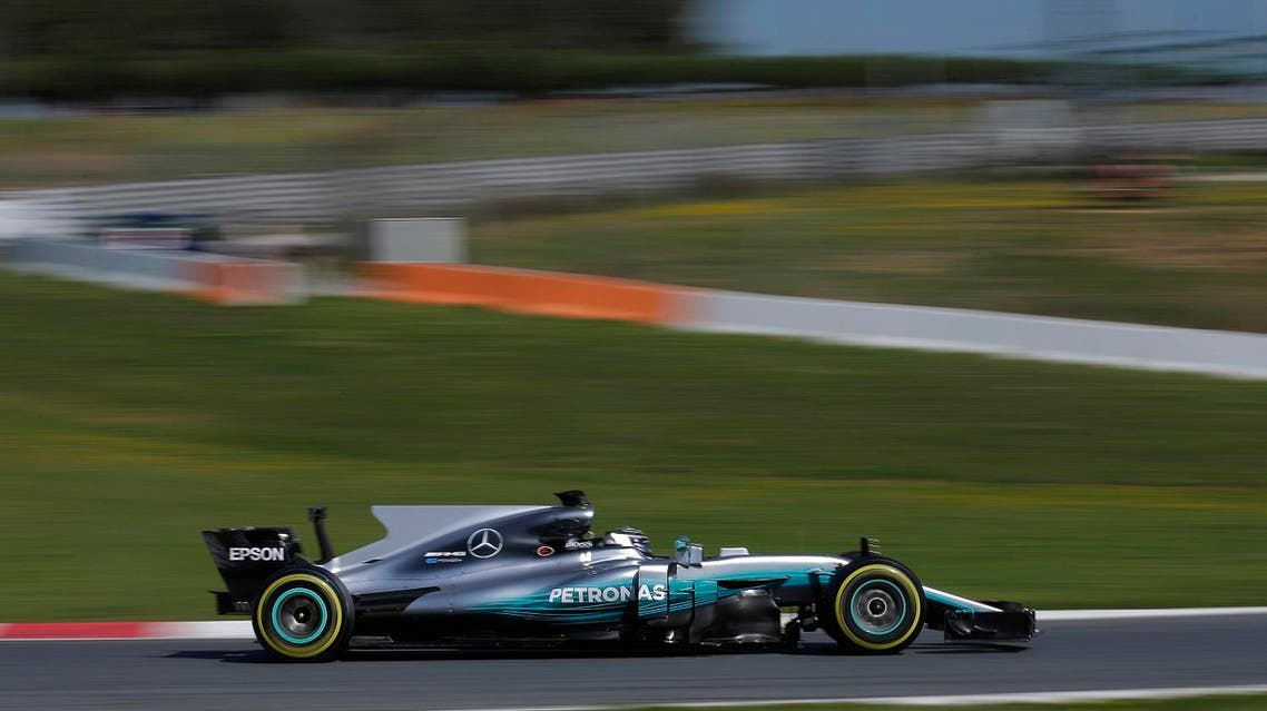 Mercedes driver Valtteri Bottas of Finland steers his car during a Formula One pre-season testing session at the Catalunya racetrack in Montmelo, outside Barcelona, Spain, Friday, March 10, 2017. (AP