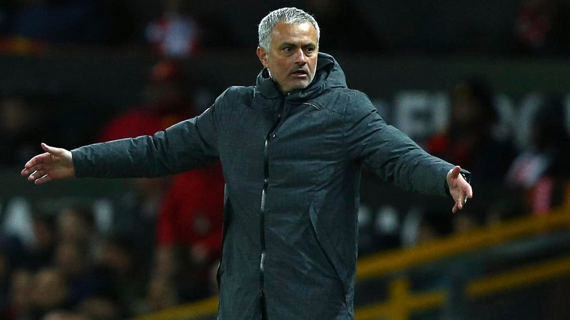 United manager Jose Mourinho gestures during the Europa League round of 16, second leg, soccer match between Manchester United and FC Rostov at Old Trafford Stadium in Manchester, England, Thursday March 16, 2017. (AP)