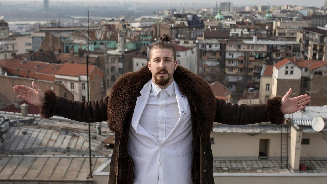 Student and 2017 presidential candidate Luka Maksimovic, 25, poses for a picture as his alter ego 'Ljubisa 'Beli' Preletacevic' a parody of the worst politician in the Balkans,in Belgrade, Serbia, March 14, 2017. (Reuters)