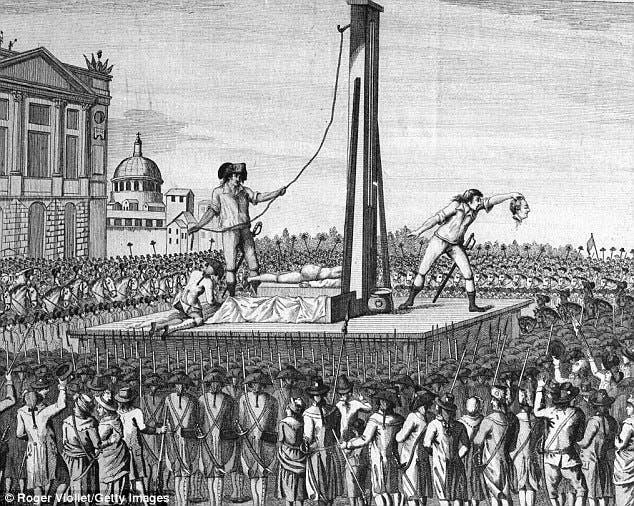 المقصلة الحديدية التي تم فيها اعدام لويس السادس عشر