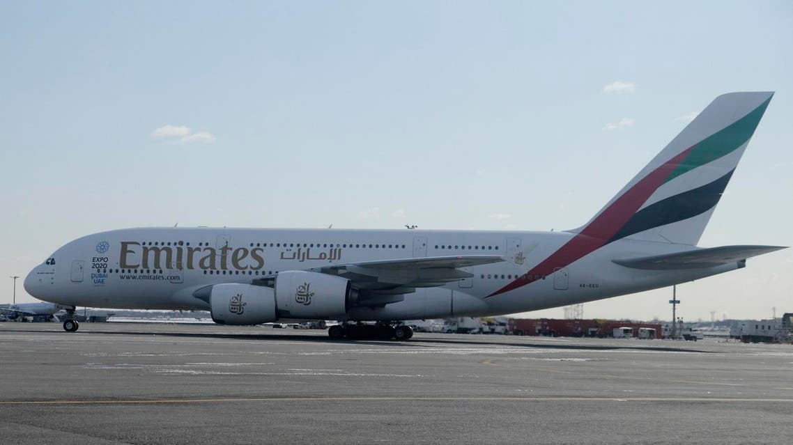 An Emirates airplane sits on the tarmac at John F. Kennedy International Airport in New York, Thursday, March 16, 2017. (AP)
