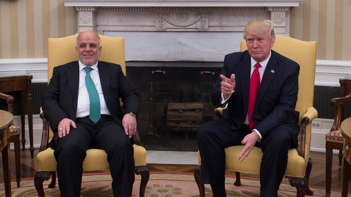 US President Donald Trump meets with Iraqi Prime Minister Haider Al-Abadi in the Oval Office in the White House on March 20, 2017, in Washington, DC. (AFP)