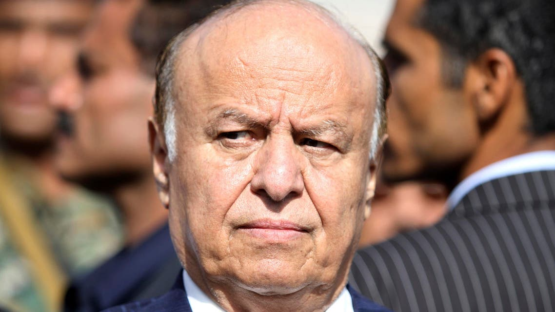 Yemeni President Abed Rabbo Mansour Hadi looks on during a funeral service for Major General Salem Ali Qatan, the commander of military forces in the south of Yemen, in Sanaa June 19, 2012.